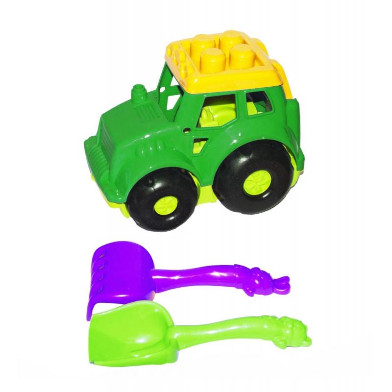 """Трактор Кузнечик №1, зелёный  с граблями и лопаткой 0206 купить в магазине """"Пустун"""""""