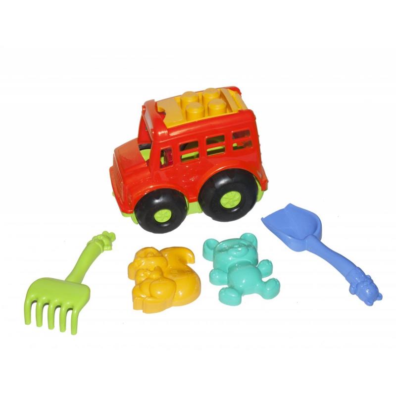 """Автобус """"Бусик"""" с песочным набором красный 0091 купить в магазине """"Пустун"""""""
