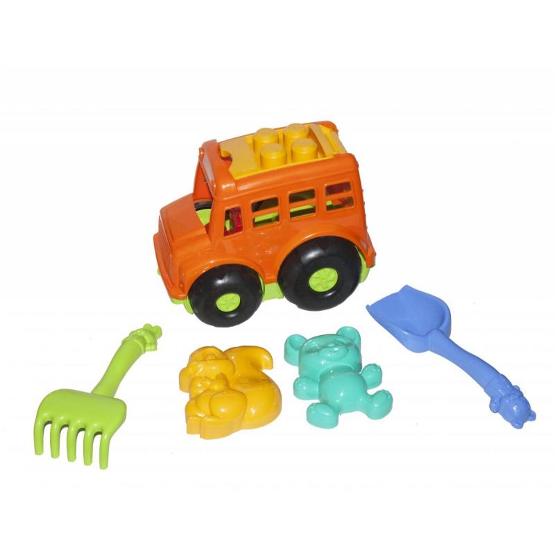 """Автобус """"Бусик"""" с песочным набором оранжевый 0091 купить в магазине """"Пустун"""""""