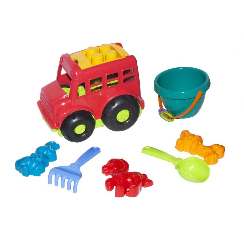 """Автобус Бусик №3 с песочным набором красный купить в магазине """"Пустун"""""""