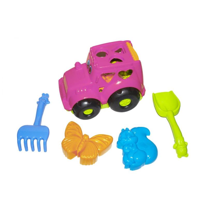"""Сортер-трактор """"Кузнечик"""" №2 (розовый) с песочным набором 0336 купить в магазине """"Пустун"""""""