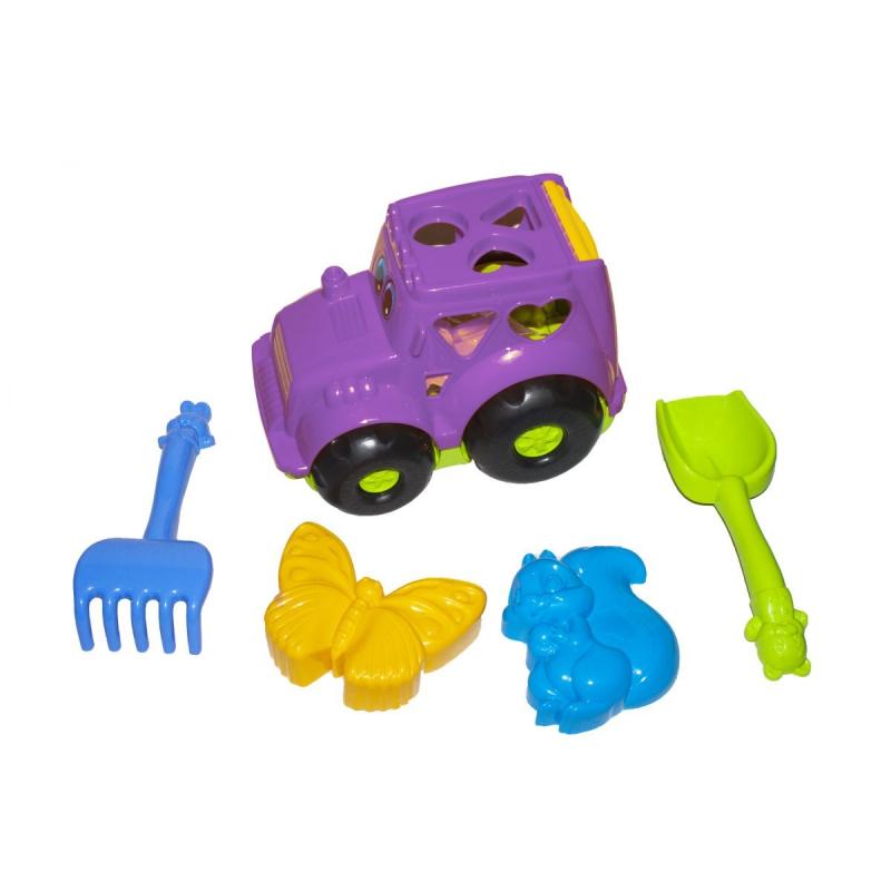 """Сортер-трактор """"Кузнечик"""" №2 (сиреневый) с песочным набором 0336 купить в магазине """"Пустун"""""""