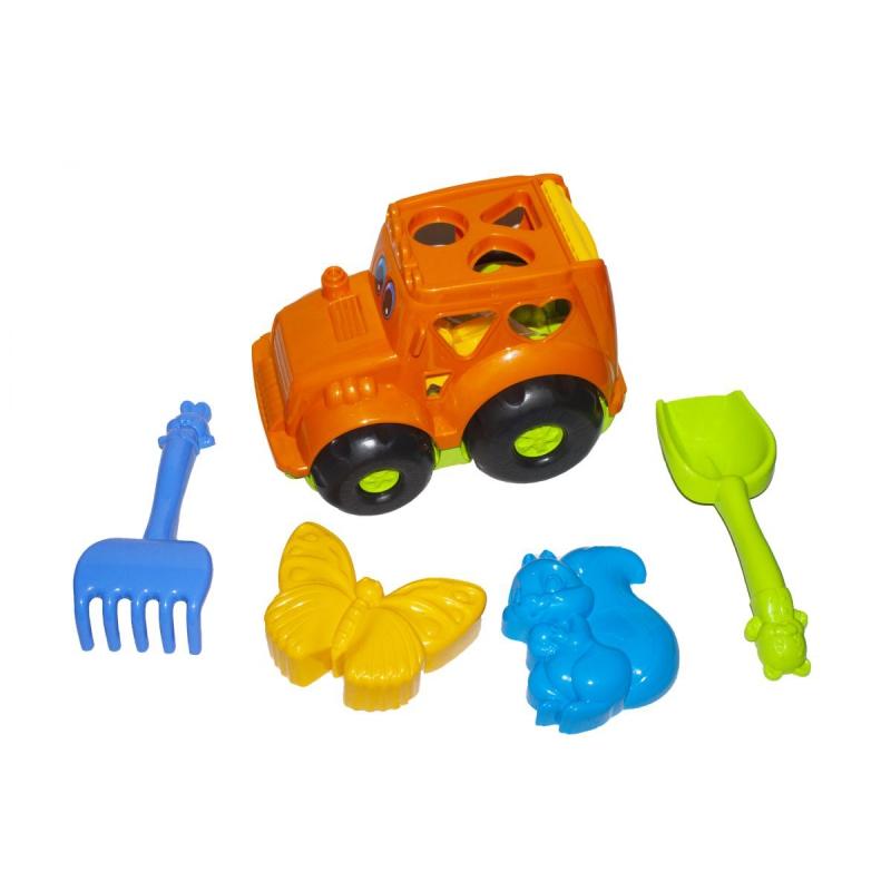 """Сортер-трактор """"Кузнечик"""" №2 (оранжевый) с песочным набором 0336 купить в магазине """"Пустун"""""""