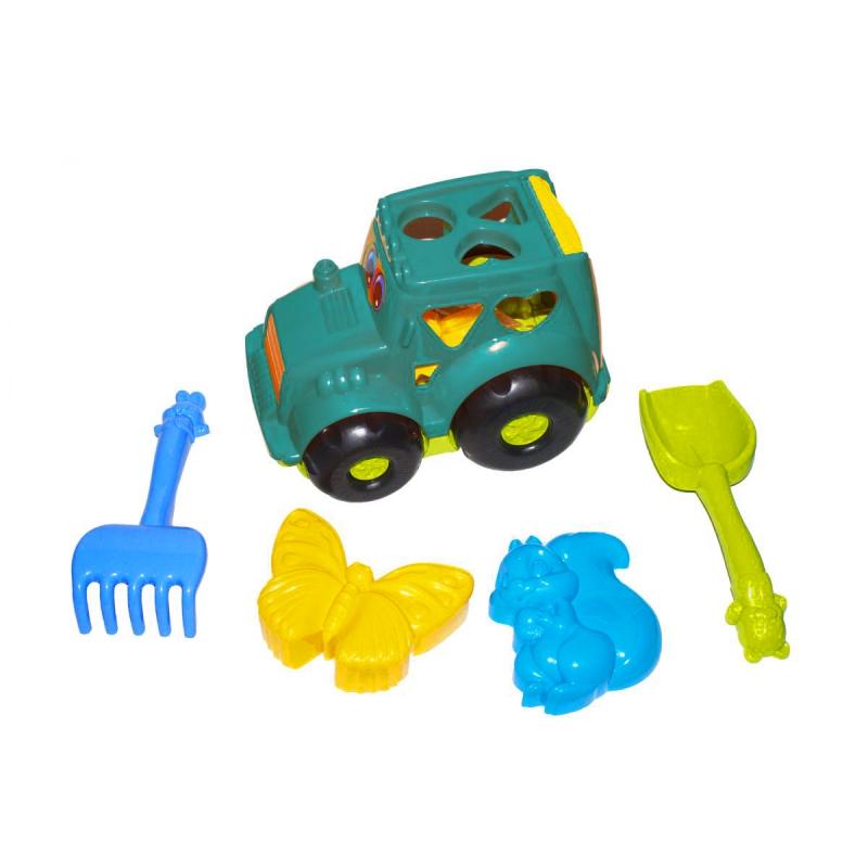 """Сортер-трактор """"Кузнечик"""" №2 (бирюзовый) с песочным набором 0336 купить в магазине """"Пустун"""""""