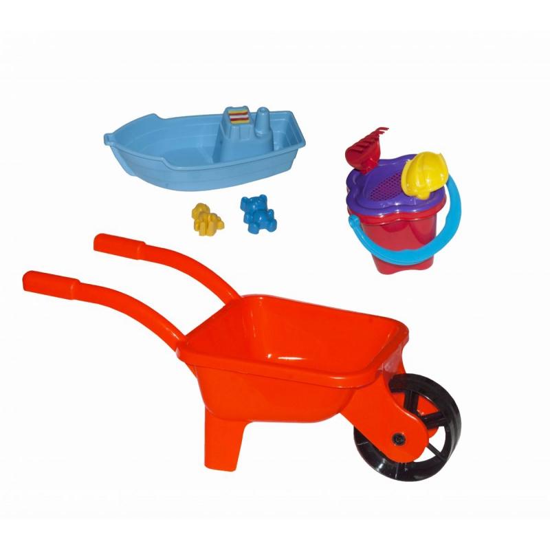 """Тачка с лодочкой и песочным набором  (красная) KW-01-127 купить в магазине """"Пустун"""""""