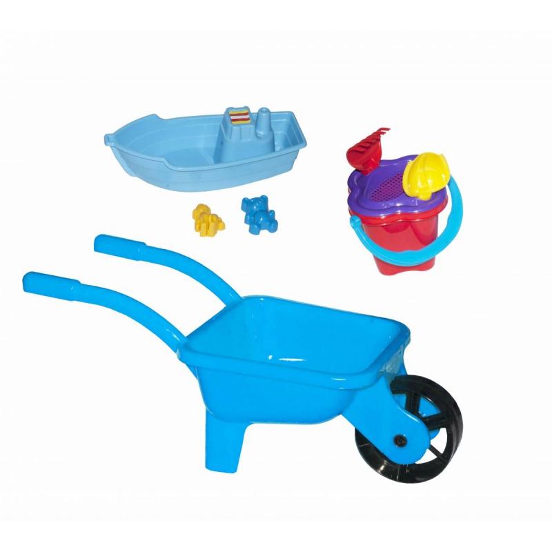 """Тачка с лодочкой и песочным набором  (голубая) KW-01-127 купить в магазине """"Пустун"""""""