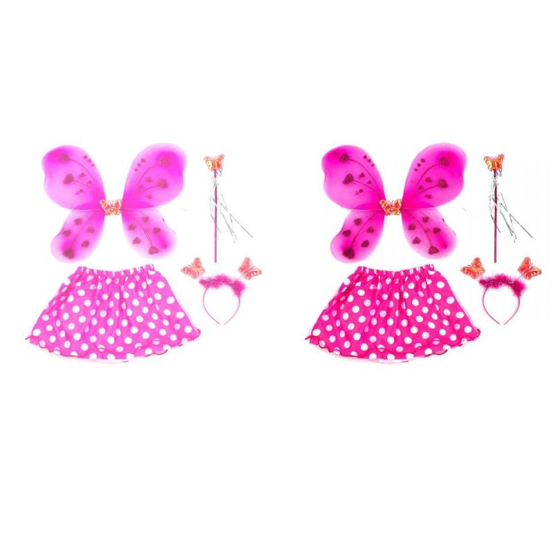 """Карнавальный костюм """"Бабочка в юбке в горошек"""" (розовый, малиновый) C31249 купить в магазине """"Пустун"""""""